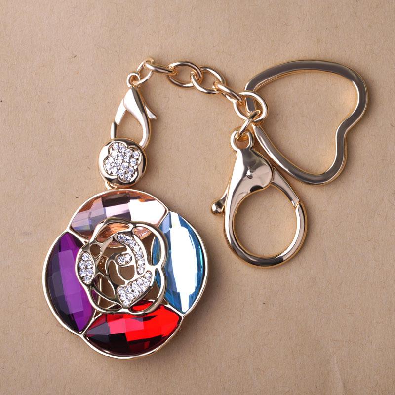 Charming Famous Brand C Rose Flower Flores Keychain Bag Keyring Favors Novelty Item Chaveiros Personalizado Bulk Mix Lot Sale(China (Mainland))