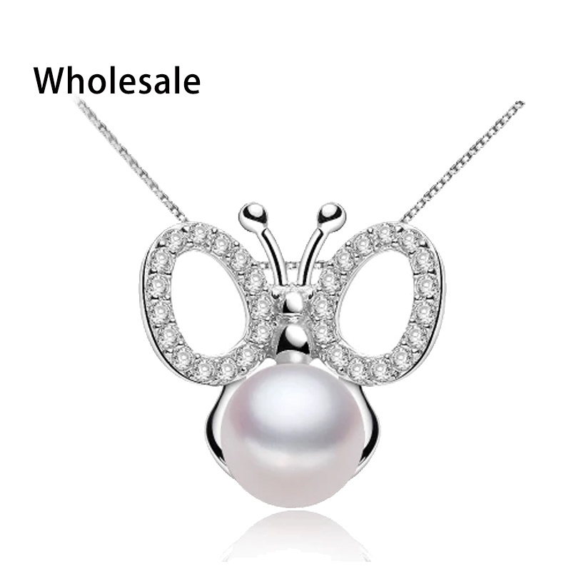 2015 New sterling silver jewelry natural pearl pendant with 925 silver box chain jewelry for women romantic fine jewelry animal(China (Mainland))