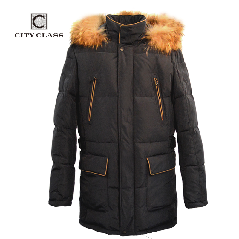 CITY CLASS 2015 New mens thick warm winter jacket and classic  overcoat  long down cotton removable mink hood free shipping14316Одежда и ак�е��уары<br><br><br>Aliexpress