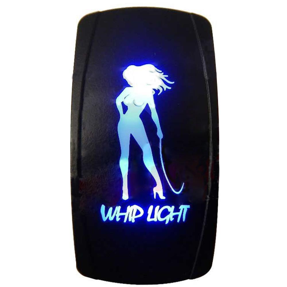 High Quality 3 Pin Laser Backlit Blue Rocker Toggle Switch WHIP LIGHT 20A 12V On/off LED Light 3 Pin design [KG-047-1](China (Mainland))