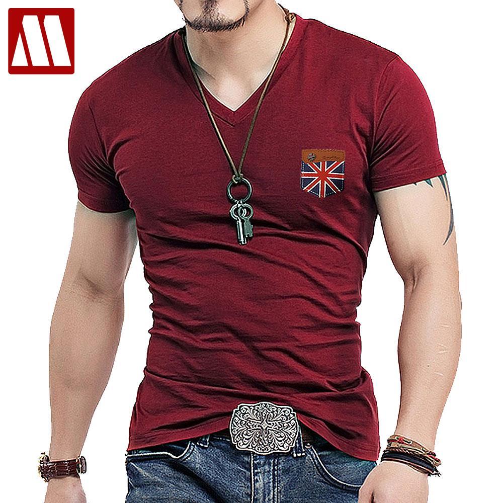 Mens fashion uk union flag leather short sleeve t shirt for Men s v neck pocket tee shirts
