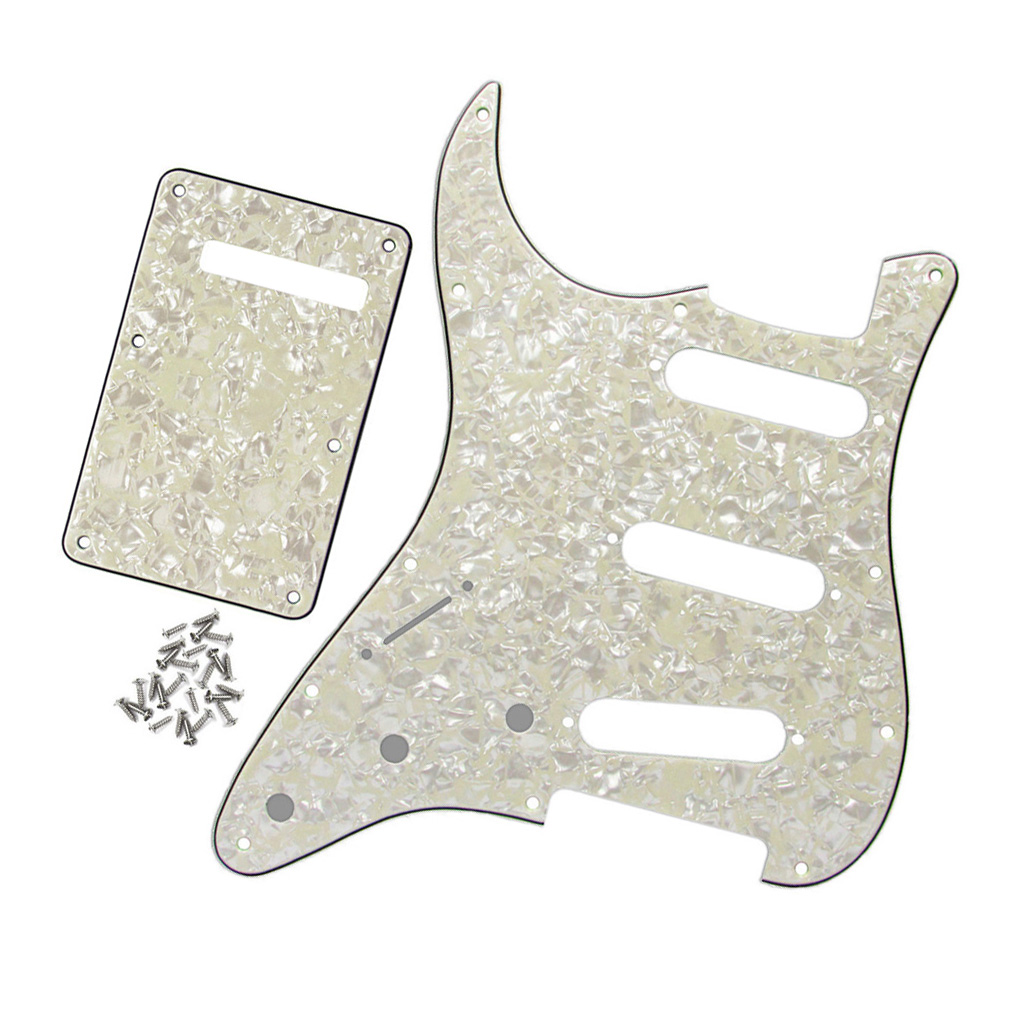 Aged Pearl 4Ply Left-handed SSS Guitar Pickguard 11Holes and Back Plate for FD Strat Guitar(China (Mainland))