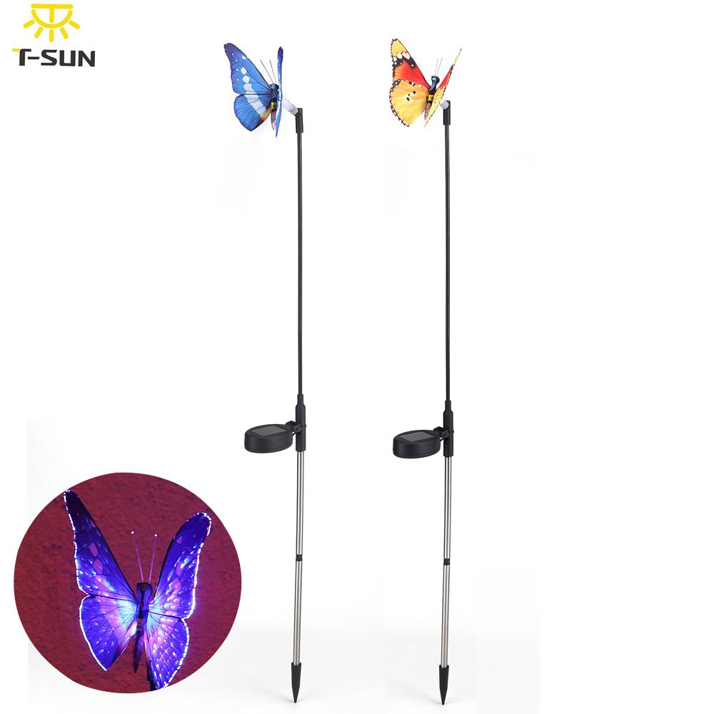 2pcs solar lights for garden decoration Solar fiber butterfly decoration light Solar Power RGB LED Garden Lamps (Random Color)(China (Mainland))
