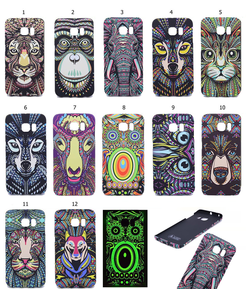 2015 New Style Fluorescent Noctilucent 3D cute Cartoon Animal world Tiger Wolf Phone Case Cover For Samsung Galaxy S6 Edge G9250(China (Mainland))
