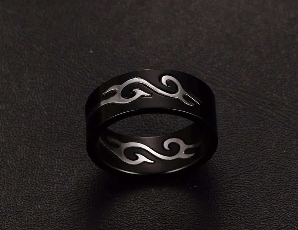 Boys Mens Rings Stainless Steel Detachable Fire Totem Ring Wedding Bands Black Silver-color Elegant Men Fashion Jewelry 18