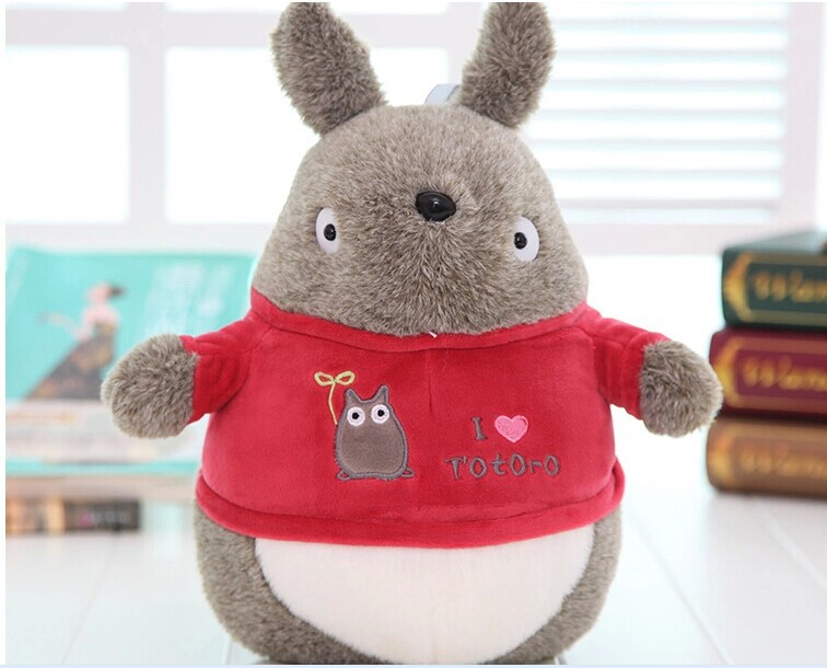 cute Totoro plush toy stuffed totoro doll with red coat birthday gift about 35cm(China (Mainland))