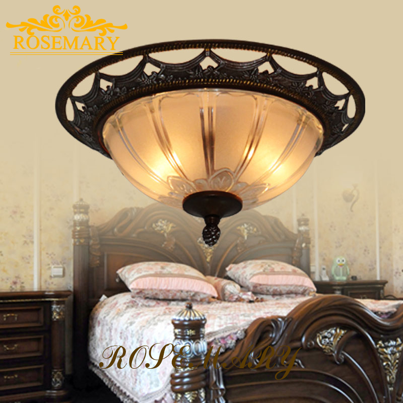Retro American Style Glass Ceiling Light Bedroom Ceiling