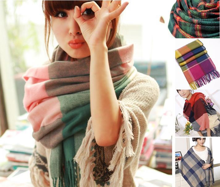 2015 cashmere wool scarf bufanda Tassel shawl pashmina bufandas Spain Desigual Thick Plaid women winter scarves(China (Mainland))