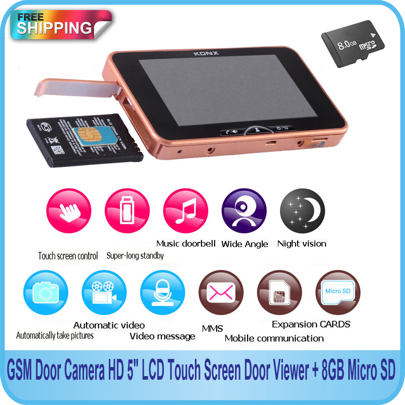 """Free Shipping!!GSM Door Camera HD 4.5"""" LCD Touch Screen Peephole Doorbell Wide Lens IR Motion Detect Door Viewer + 8GB Micro SD(China (Mainland))"""