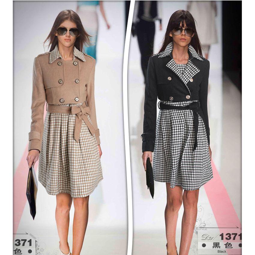 Free Shipping ! 2014 Winter Fashion Runway Elegant Woolen Short Overcoat + Plaid Vest One-piece Dress Black & Apricot OL Twinset(China (Mainland))