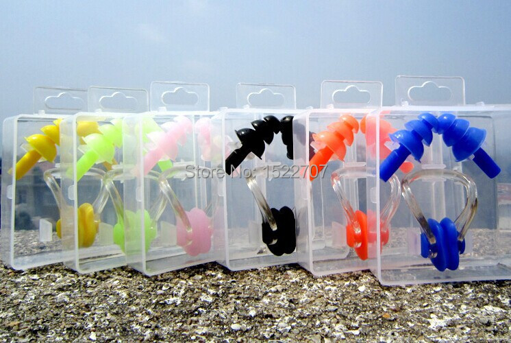 2015 hot sale High Quality pool Soft Silicone Swim waterproof Earplug nose clip 7 colors Swim earbuds Surf Swimming earplugs(China (Mainland))