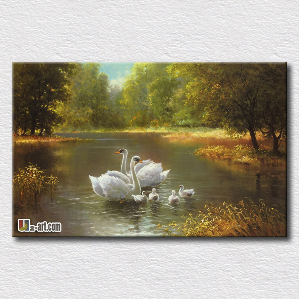 Swan oil painting print canvas animal prints the symbol of beauty hang in the living room or bedroom gift for girlfriend(China (Mainland))