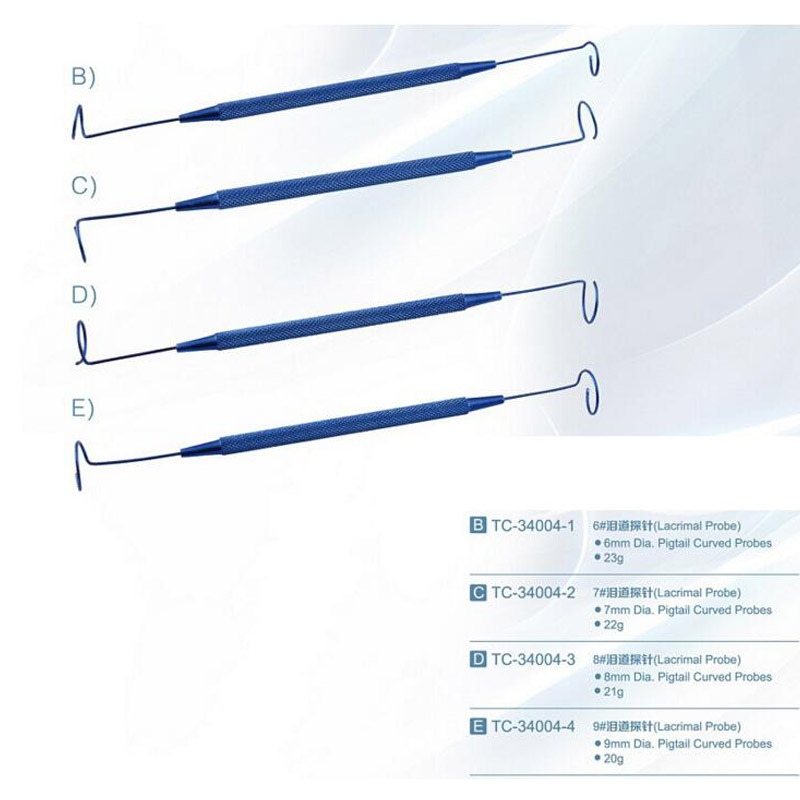 Microsurgical instruments Stainless Steel Ophthalmic Instruments pigtail lacrimal probe 0.6 / 0.7 / 0.8 / 0.9mm<br><br>Aliexpress