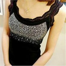 New Fashion Women's Rhinestone Sleeveless Tank Tops Vest 3 Colors Fashion Summer Tank Tops 651302(China (Mainland))