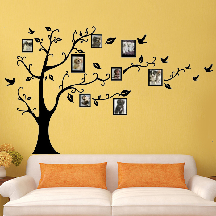 Photo frame tree wall stickers quotes wall arts home for Living room decor quotes