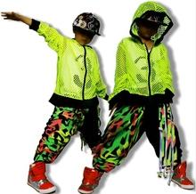 Kids Pants Fashion 2015 Hip Hop Sweatpants Jazz dance costume neon color patchwork color block harem pants hiphop sports pants(China (Mainland))