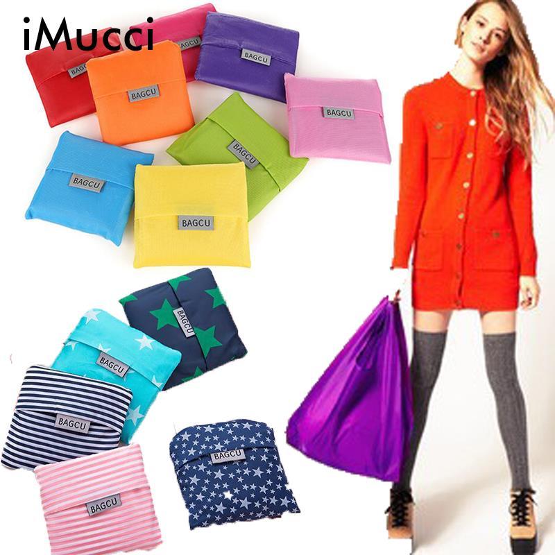 6pieces/lot BAGCU Square Pocket Shopping Bag Candy Color Eco-friendly Reusable Folding Nylon Environment Friendly Bags - Creativity Bag,Creativity Life(/Drop-Shipping store)