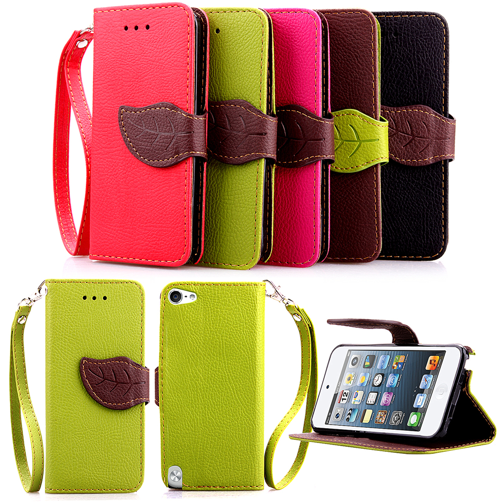 Stand Flip Wallet Leather Cover For Apple Ipod Touch 5 Case Purse Style Silicon Leather Case For Ipod Touch 5 With Card Slots(China (Mainland))