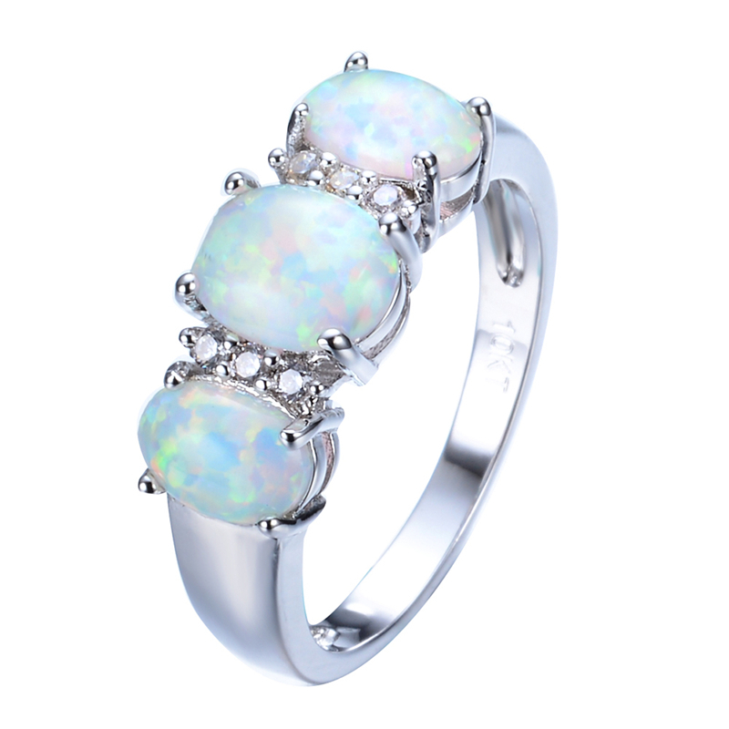 New Sale Unique Round Fire Opal Ring White Gold Filled Crystal Jewelry Vintage Wedding Party Rings For Men And Women RP0048(China (Mainland))