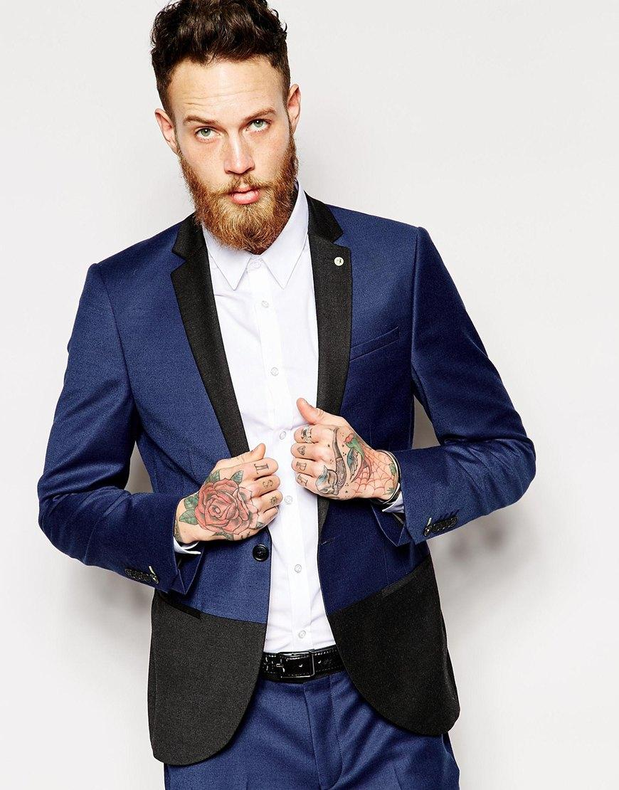 Online Get Cheap Slim Tuxedos for Men Formal Men Suits Blue