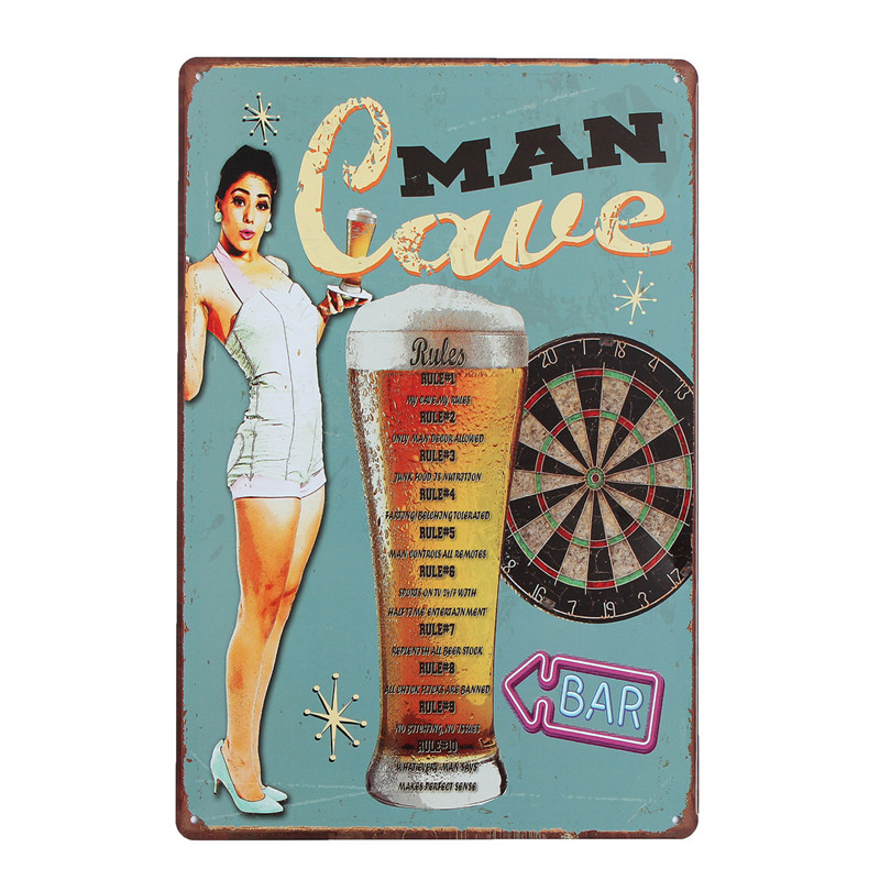 Modern Retro Metal MAN CAVE Vintage Tin Sign Tavern Shabby Chic Bar Pub Club Home Coffee Shop Wall Decor Art Poster Craft Plaque