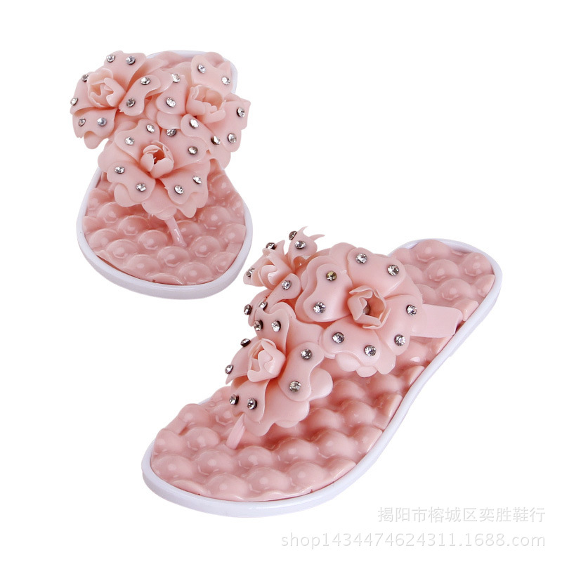 new fashion flower flipflops for woman summer style beach jelly shoes casual massage shoes slippers thongs zapatos mujer(China (Mainland))