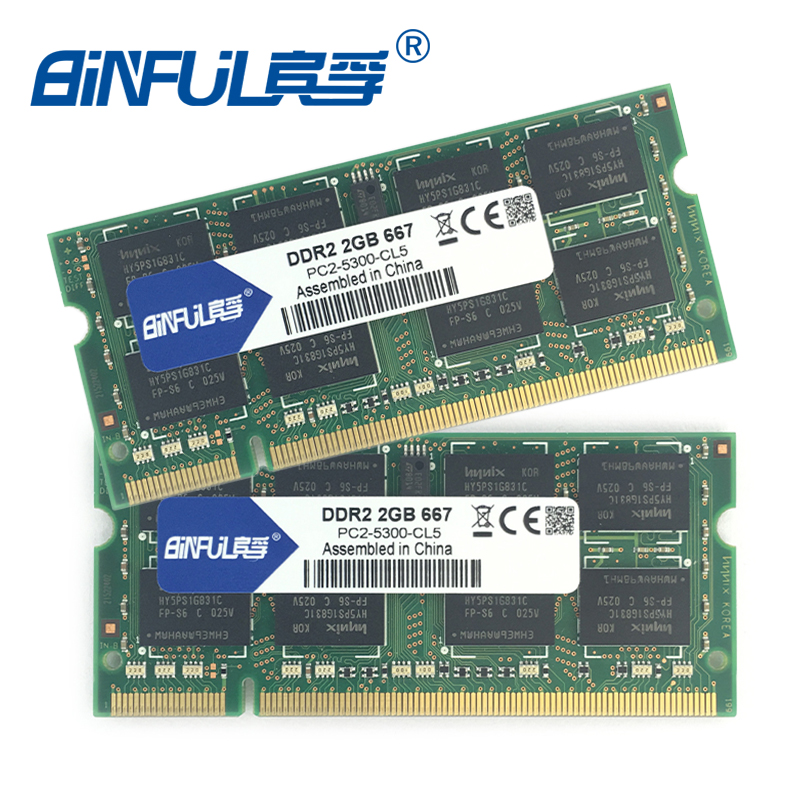 Binful Original New Brand DDR2 PC2-5300 667mhz PC2-6400 800mhz 4GB(Kit of 2,2X 2GB for Dual Channel) Memory Ram Laptop Notebook(China (Mainland))