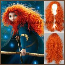 2014 Carton Brave Merida Princess Hair Wig High Quality Synthetic Long Africa Orange Curly Wigs Cosplay Wig Peruca Free Shipping