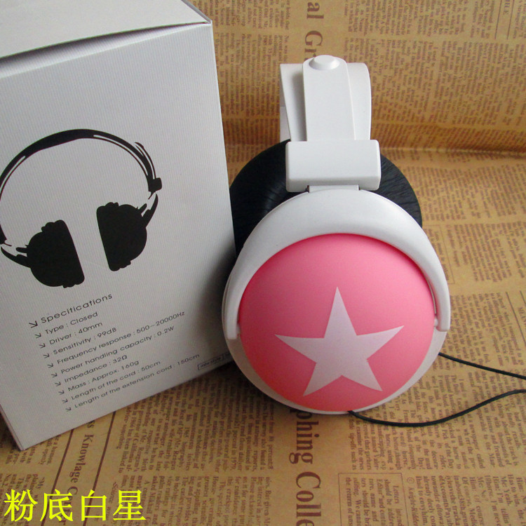 Stylish cute over head headphone for MP3 with 40mm speaker free shipping 3.5mm on-ear potable media headset with 1.2m cable(China (Mainland))