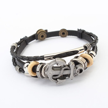 Cowhide Bracelet,Cheap, cowhide cord, with Zinc Alloy, Anchor, plated, 3-strand, 22cm, Sold Per Approx 8.5 Inch Strand(China (Mainland))