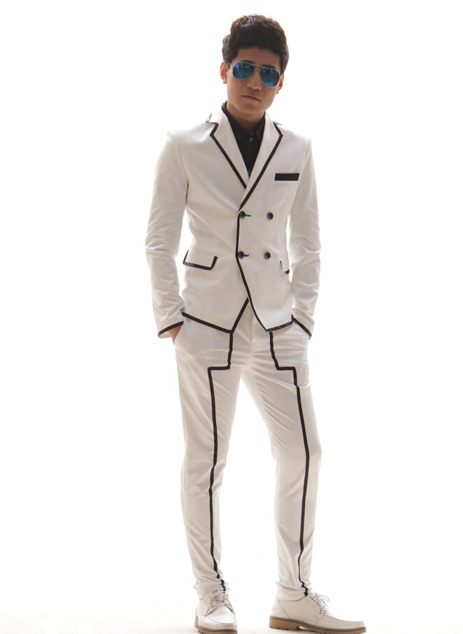 Men Slim fashion white black Stripe suit set male singer dj nightclub stage show dance costume blazer outerwear pants outfit(China (Mainland))