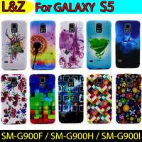SM-G900F / SM-G900H Hard Cover PC Protection Case sFor Samsung Galaxy S5 Coque Plastic Shell Flower Painting Case For GALAXY S5
