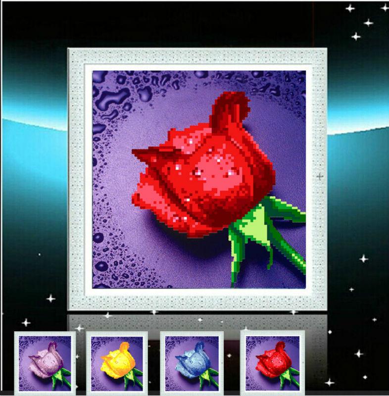 5D DIY diamond painting 4 colors of roses diamond embroidery mosaic needlework round rhinestone pasting decorative painting(China (Mainland))