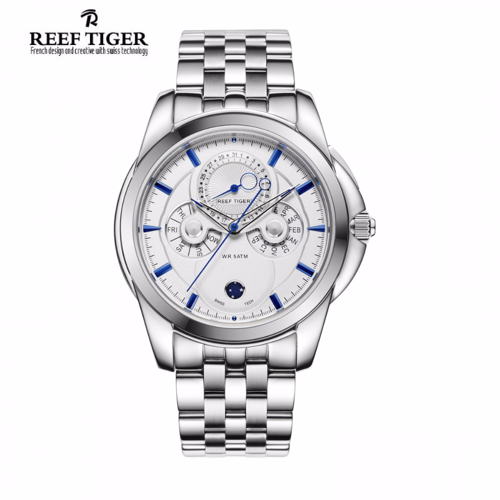 Reef Tiger/RT Watch Simple Elegant Business Watch Complex Dial with Date Date Calender Moon Phase Watch for Men RGA830-YBY<br>