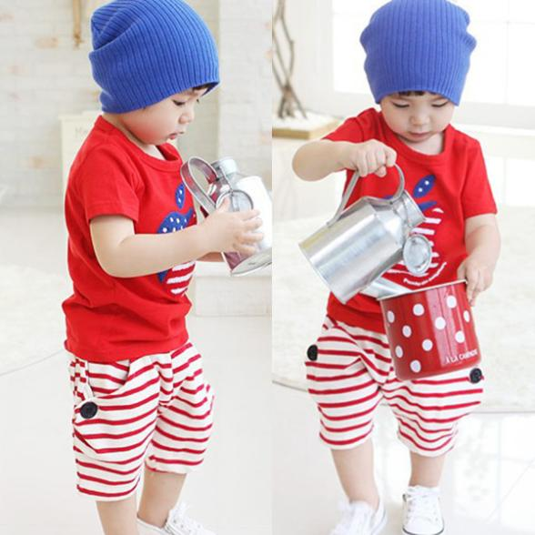 [해외]Hot Selling Kids Baby Suits Apple Print Shirts Top..