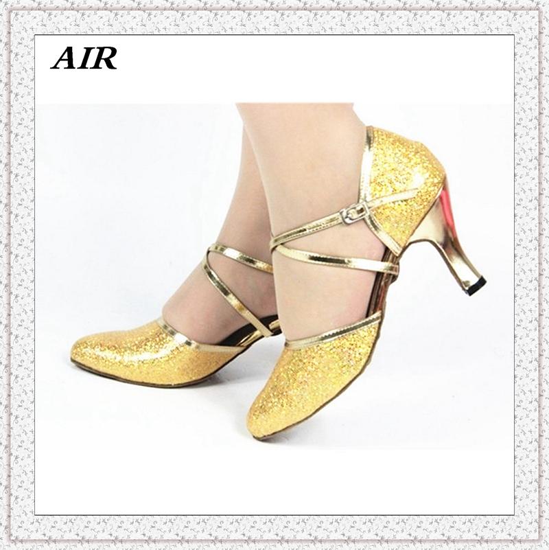 Customizable Fitness Peep Toe Med Or High Heel Sequined Cloth Women's Ballroom Tango Latin Dance Shoes Gold With Rhinestone