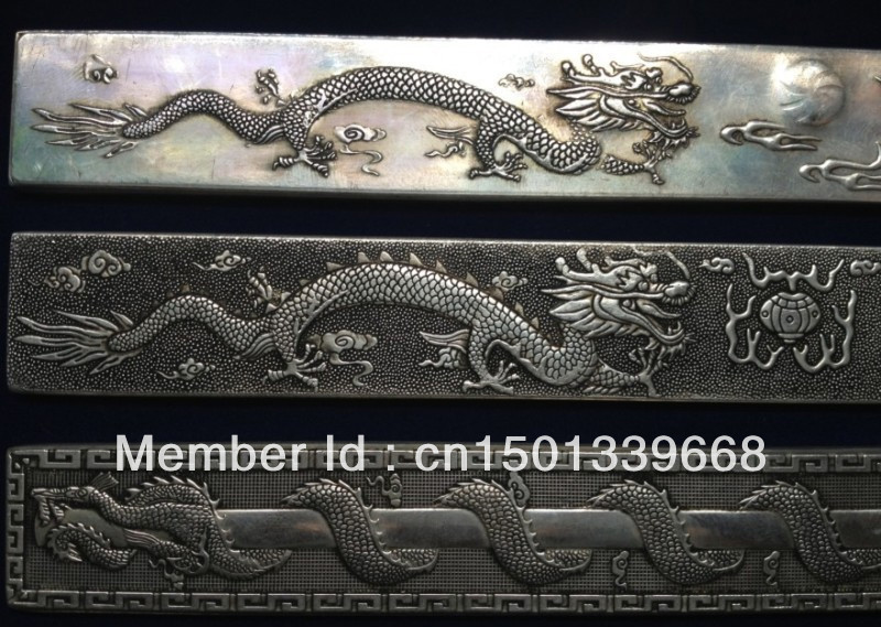 3 pc Old Chinese Exquisite carving Silver Bullion Dragon and Flaming Pearl(China (Mainland))
