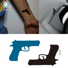 Pistol Gun Pattern Tattoo Sticker Harajuku Waterproof Temporary Tattoo Women Sexy Shoulder Neck Ear Fake Tattoo Stickers HC-104(China (Mainland))