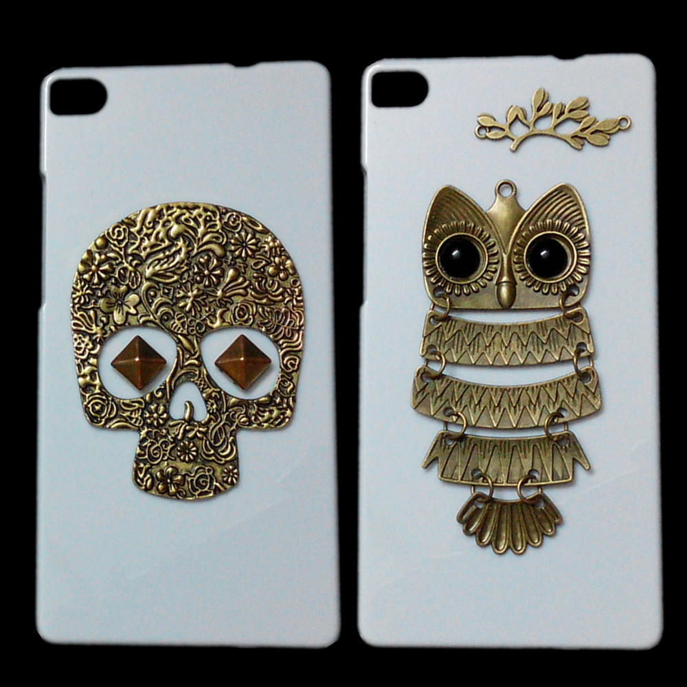 For Ascend P8 Case, Retro Bronze Skull Punk Rivet Owl Branch Back Hard Cover For Huawei Ascend P8 Cute Mustache Phone Bags Cases(China (Mainland))