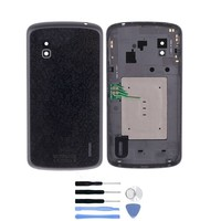 Original For LG Google Nexus 4 E960 Back Battery Door Cover Housing With NFC Antenna Repair Parts + Free Tools + Tracking Number