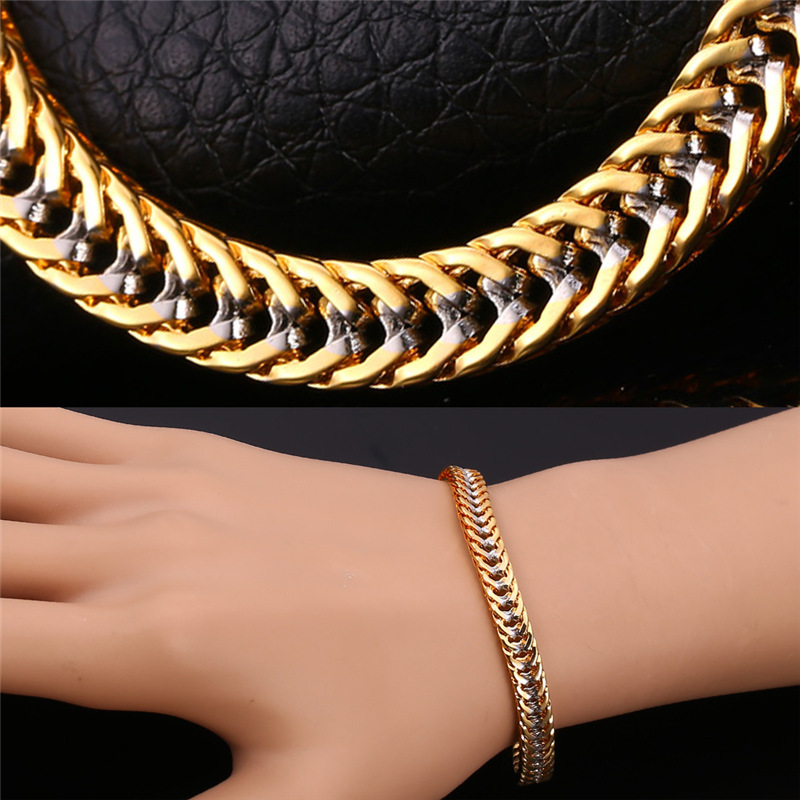 Fashion Mens Bracelets Stamp '18K' Real Gold Plated Two Tone Gold Trendy Franco Chain Bracelet Men Jewelry IH1553(China (Mainland))