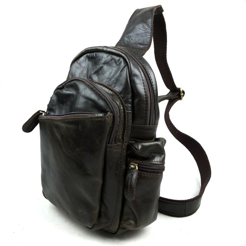 New Vintage Retro Casual Genuine Leather Oil Wax Leather Cowhide Men Chest Bag Messenger Bag Shoulder Bag Bags For Men