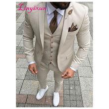 Linyixun 2019 dernières conceptions de pantalon de manteau Beige hommes costume de bal smoking Slim Fit 3 pièce Style marié hommes costumes Blazer personnalisé Terno(China)