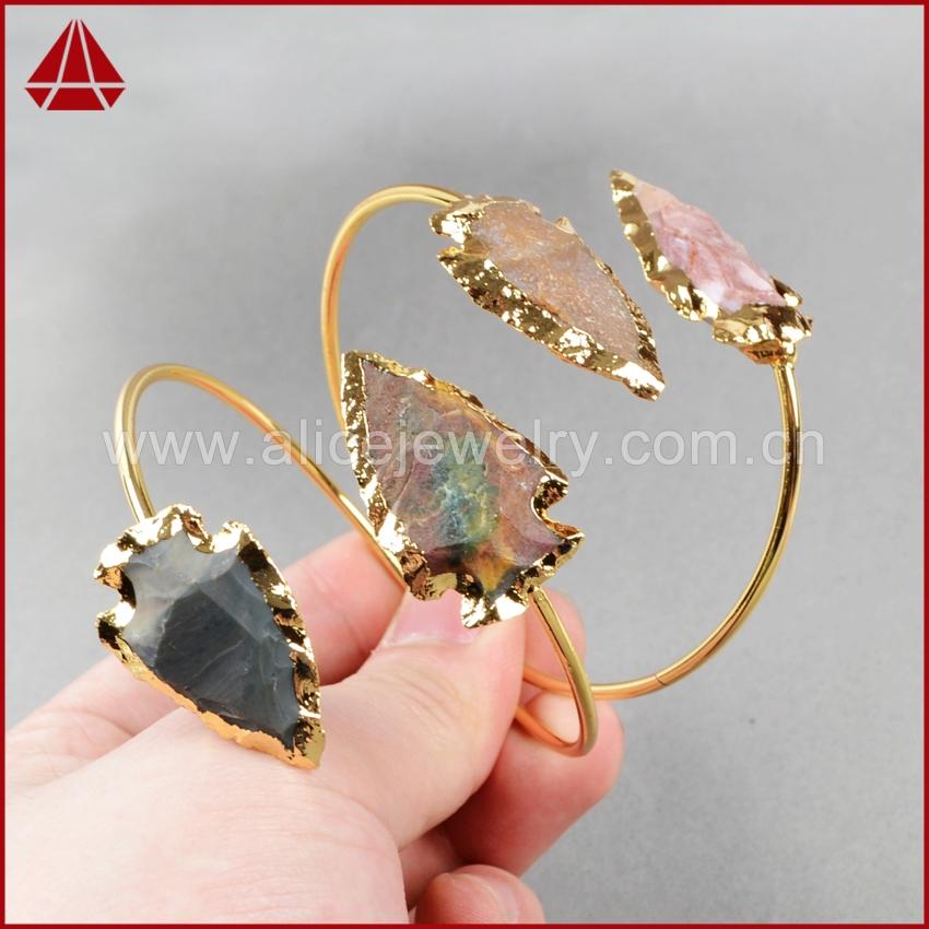 Fashion Druzy Bangles ,Natural arrowhead Jasper Bangles 24K Gold Quartz Adjustable Bracelet Bangles  G529<br><br>Aliexpress
