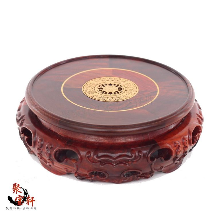 Circular boxwood carving handicraft Redwood base The Buddha carved household red acid branch furnishing articles(China (Mainland))