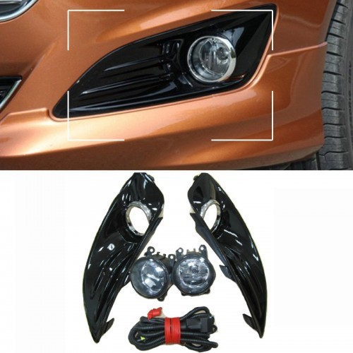 Фотография 1Set Front Bumper Fog lights lamps Kit with harness Shinny Black for Ford Fiesta 2013