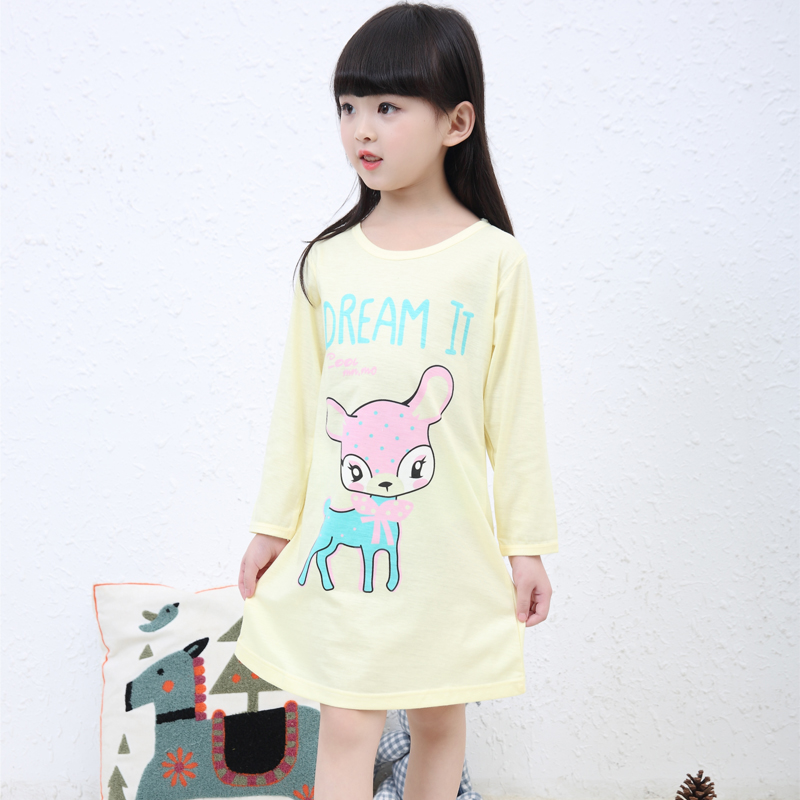 Pajamas Cotton Nightgowns for Kids Nightdress Cartoon Sleeping Dress for Girls Nightwear Baby Clothes Child Clothing(China (Mainland))