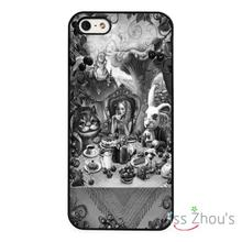 Alice In Wonderland Table Party back skins mobile cellphone cases for iphone 4/4s 5/5s 5c SE 6/6s plus ipod touch 4/5/6