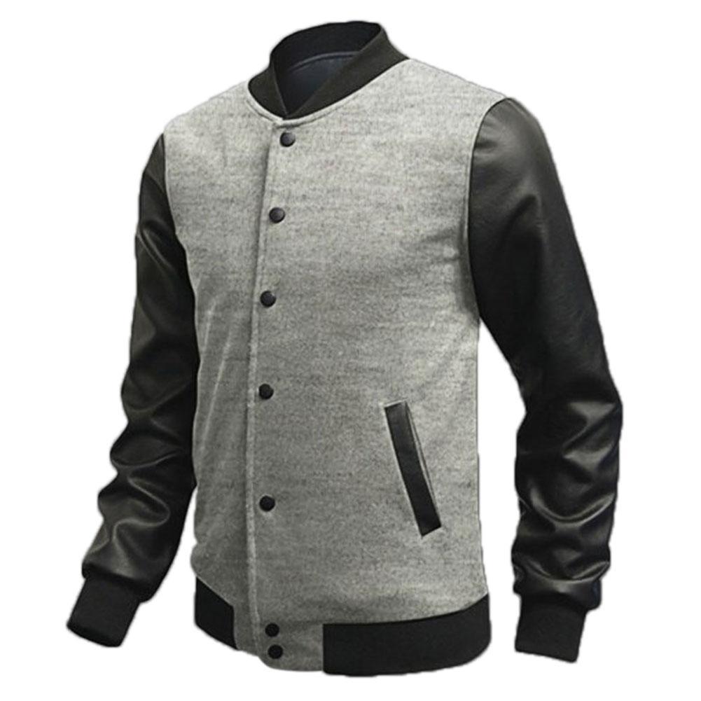 Men's PU Leather Long Sleeve Stylish Warm Slim Fit Outwear Coats Navy Blue/Black/Burgundy/Light Gray/Dark Gray(China (Mainland))