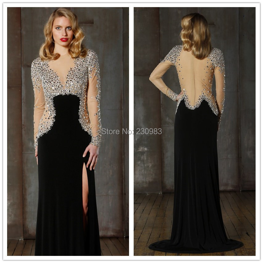 Elegant Sheer Long Sleeve Strong Beaded Illusion Neckline Nude Back Black Evening Dresses 2014 Cheap Prom Party Gown Custom Made - Abby's Bridal Studio store